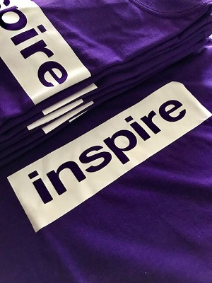 inspireUSA T-Shirt (Summer 2018) Purple with White - X-Large