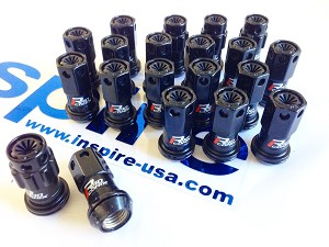 Project Kics R40 Iconix Black Lug Nuts w/ Black Plastic Caps - 12x1.5