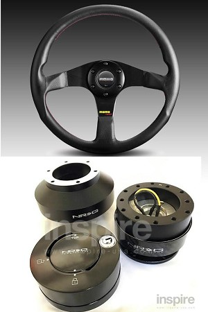 Momo Tuner Black Red Stitch Steering Wheel Quick Release Combo