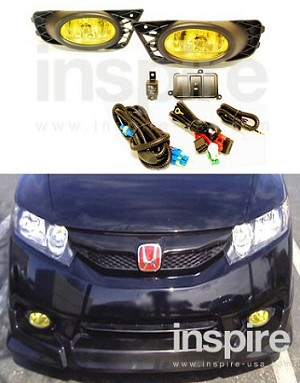 Honda Civic 2009-11 Yellow OEM Style Fog Lights (sedan)