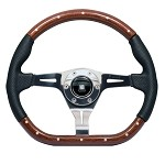 Nardi Kallista - 350mm (Polished / Wood / Black Per Leather / Black Stitch)