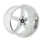Cosmis Racing R5 Wheel (White w/ Machined Lip) - 18x9.5 / 5x120 / Offset +25