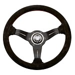 Nardi Deep Corn Sport Rally - 330mm (Black Suede / Red Stitch)