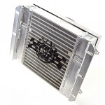 CSF Racing Universal Dual-fluid oil cooler (Heavy Duty Bar/plate with SPAL Fan & -10 fittings)
