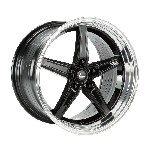 Cosmis Racing R5 Wheel (Black w/ Machined Lip & Milled Spokes) - 18x9.5 / 5x114.3 / Offset +12