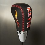 KEY'S Racing Fossa Magna Shift Knob - All Suede / Red Stitch