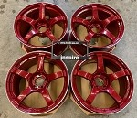 Yokohama Wheels Advan Racing TC-4 18x9.0 +25 & 18x10.0 +25 Staggered 5x114.3 Racing Candy Red & Ring