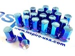 Project Kics Heptagon Caliber 24 Titanium Blue Lug Nuts - 12x1.25