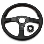 Mugen Racing 3 Steering Wheel - 350mm (Black Leather / Red Stitch)