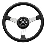 Nardi Classic - 360mm (Black Leather / Satin Silver Spokes / Black Stitching)