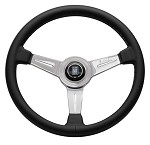 Nardi Classic - 360mm (Black Leather / Glossy Spokes w/ Grey Stitching)
