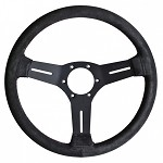 Nardi Classic Competition (no horn ring) - 330mm (Black / Black Suede / Red Stitch)
