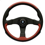 Nardi Leader - 350mm (Black & Red Leather / Black Spokes)