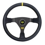 OMP WRC Steering Wheel - Leather w/ Yellow Stitching (350mm)