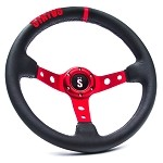 Status Racing Drift Leather Steering Wheel - Red (342mm)