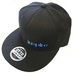 Inspire USA Snap Back Hat (black hat, black bill, blue lettering)