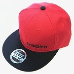 Inspire USA Snap Back Hat (red hat, black bill, black lettering)