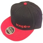 Inspire USA Snap Back Hat (black hat, red bill, red lettering)