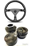 Momo Monte Carlo Black Stitch Steering Wheel Quick Release Combo
