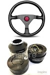Momo Monte Carlo Red Stitch Steering Wheel Quick Release Combo